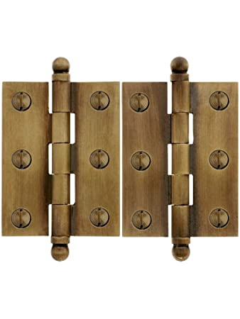 Pair Of Solid Brass Ball-Tip Cabinet Hinges In Antique-By-Hand -  sc 1 st  Amazon.com & Pair Of Solid Brass Ball-Tip Cabinet Hinges In Antique-By-Hand - 2 ...