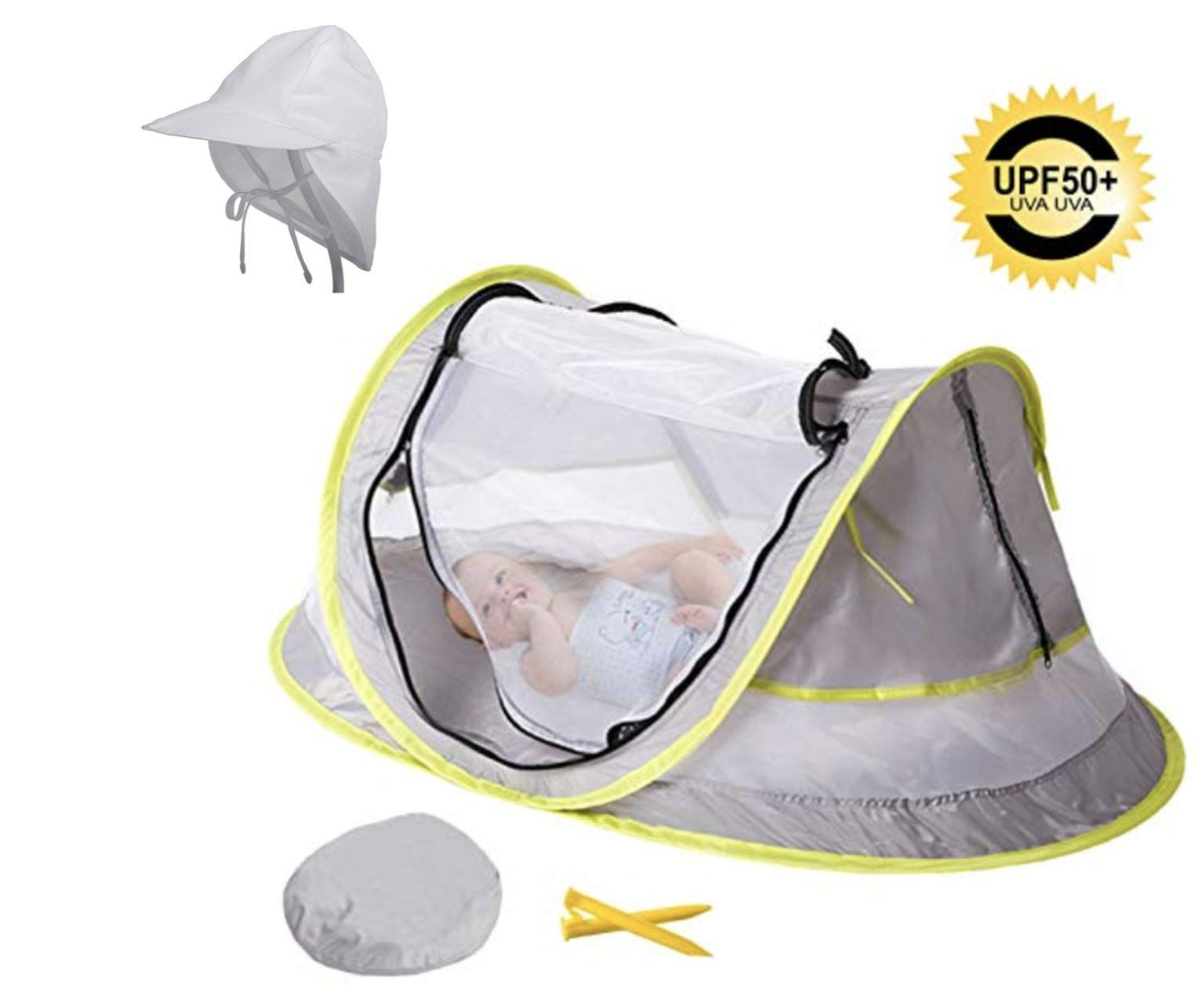 Baby Beach Tent + Baby Sun Hat – Ultralight Weight Extremely Easy to Set Up - Anti UV Baby Tent (Ideal for Infants & Newborns) – No More Bugs or Mosquitos – Bonus Baby Beach Hat for Boys or Girls