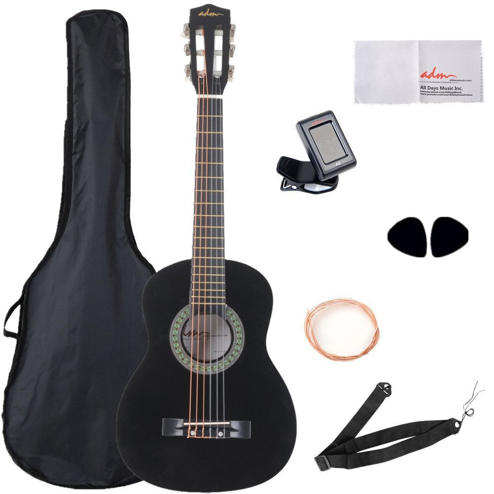 Beginner Guitar 30 Inch For Kids Student Nylon Strings with Carrying Bag & Accessories, Black