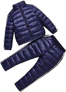 LSERVER Chaqueta de Abrigo Ligera de 2 Piezas para niños Abrigos con Conjunto de pantalón de esquí Traje de Invierno para niños