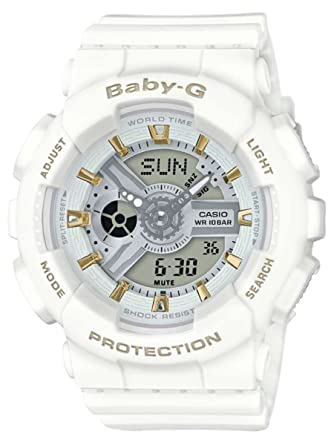 55475409b754e Amazon.com  G-Shock BA110GA-7A1 Gold Accent Series White - White   1 Size   Watches