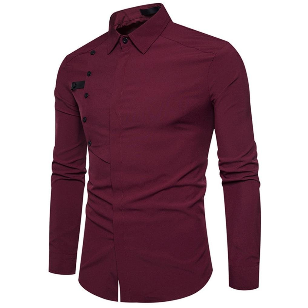 Ximandi Men's Autumn Long Sleeve Shirts, Casual Formal Slim Fit Cotton Soft Tops