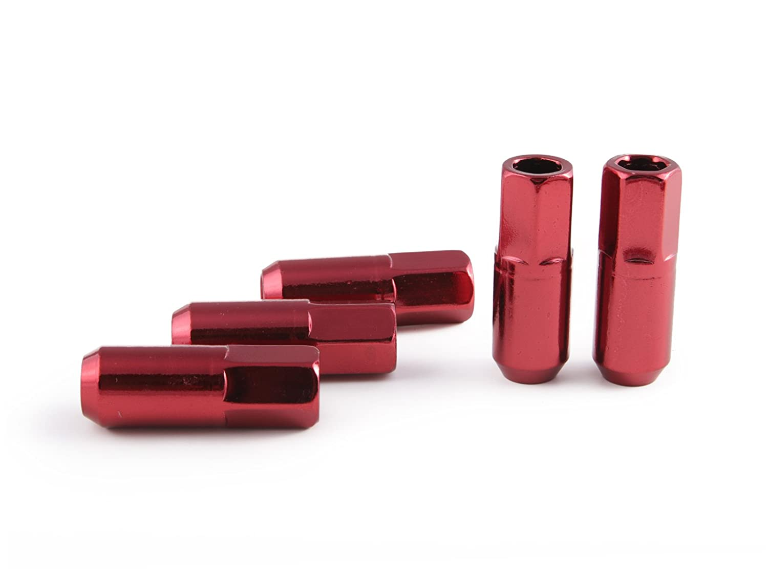 Open End 20pc Extended Tuner Race Red Lug Nuts 60 degree - 2.4 Length Cone Conical Taper Acorn Seat for Nissan Infiniti Subaru 12x1.25 Thread Size More