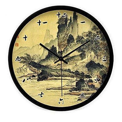 WXIN La Pintura China Paisaje Salón Dormitorio Silencio Del Reloj De Pared Reloj De Cuarzo En