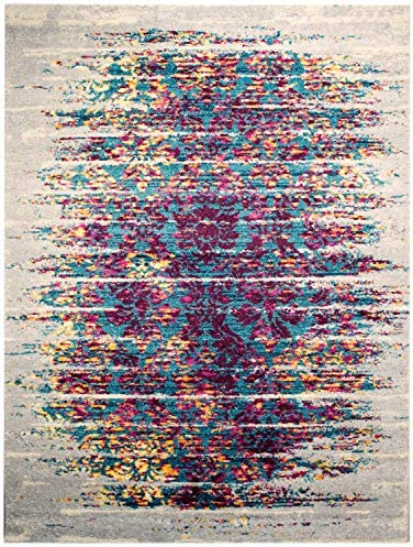 Super Area Rugs, Del Mar Waves Distressed Vintage Area Rug Stain Resistant Carpet, Gray Multi, 7 10 x 9 10