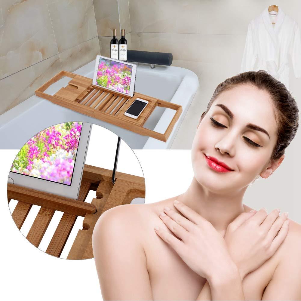 GOTOTOP Bath Tray,Bamboo Extendable Adjustable Bath Rack Shower Tub Caddy Book Reading Tray Stand Bathtub Shelf Book Holder for Bathroom