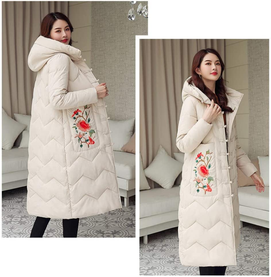 XIAOJIE Donna Cappotto di Cotone Ricamo Giacche Moda Donne Cappotto Invernale Lungo Addensare Caldo Elegante Giacca di Cotone Imbottita XL
