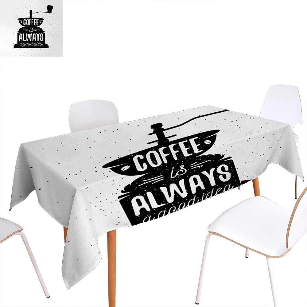 """Warm Family Quote Customized Tablecloth Coffee Maker Silhouette with Coffee is Always a Good Idea Grungy Typography Stain Resistant Wrinkle Tablecloth 60""""x90"""" Black and White"""