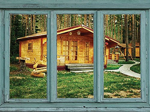 Cabins in a rustic campground Forest getaway Wall Mural