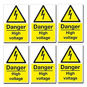 6 X Small Danger High Voltage Stickers Health And Safety