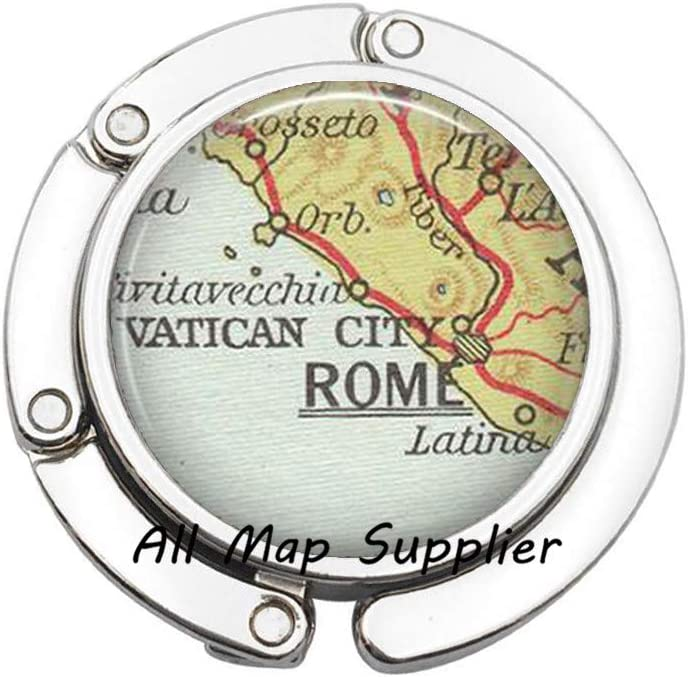 2 Charming Purse Hook,Rome map Bag Hook,Rome map Purse Hook,Rome Bag Hook,Rome Purse Hook,Fashion map Jewelry,A0169