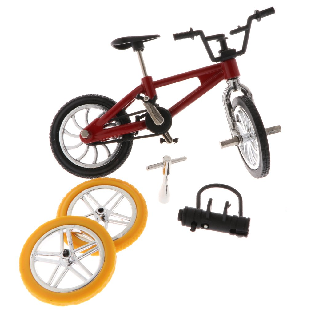 MagiDeal Finger Mountain Bike Functional Miniature Diecast Bicycle Model Mini Extreme Sports Finger Bicycle Kid Toy Game Collections Red non-brand