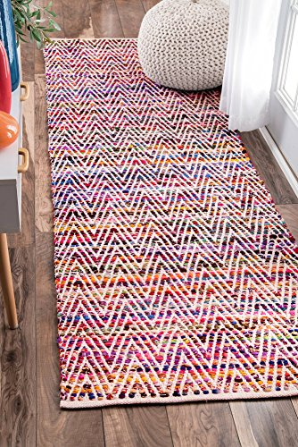 """nuLOOM Rochell Handwoven Chevron Runner Rug, 2' 6"""" x 8', Magenta - Made in India PREMIUM MATERIAL: Crafted of durable synthetic fibers, it has soft texture and is easy to clean SLEEK LOOK: Doesn't obstruct doorways and brings elegance to any space - runner-rugs, entryway-furniture-decor, entryway-laundry-room - 61J5 T3dKYL -"""