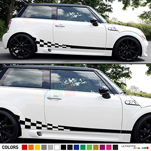 Set of Racing Wavy Checkered Flag Side Stripes Decal Sticker Graphic Compatible with Mini Cooper S Hatch Hardtop R50/53 R56 (Mini Cooper Stripes)