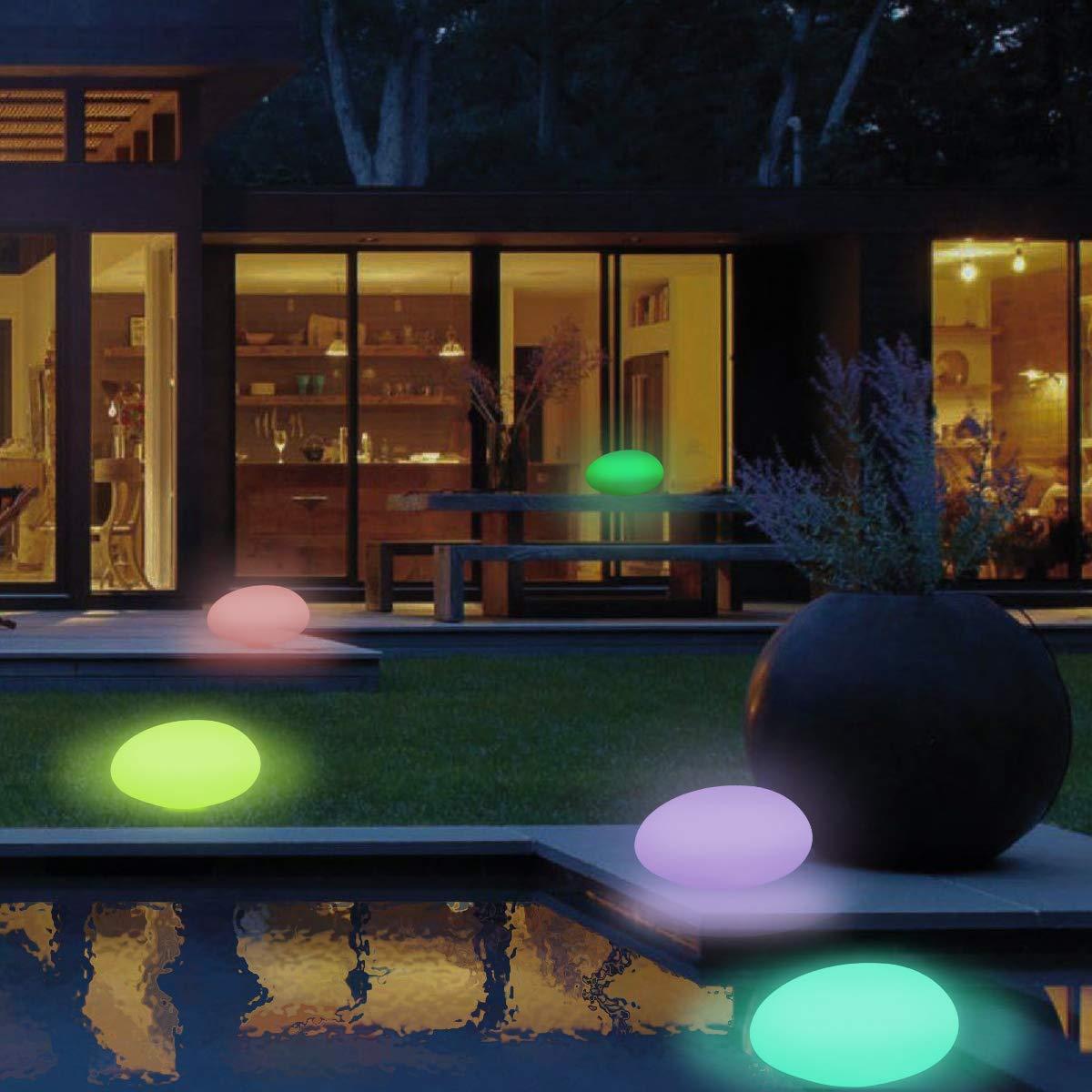 Solarlampen für Außen, TEQStone Solarleuchte Garten mit 16 einstellbaren Farben, gepflasterte Gartendekor LED Solarleuchten für Rasen, Garten, Schwimmbad, Blumenbeet etc, wasserdicht IP67