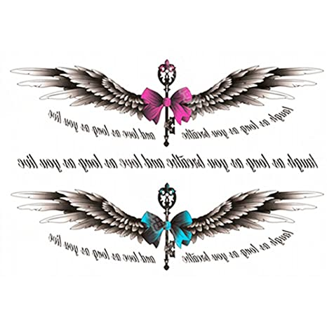 Naicasy Tatuajes Temporales Pegatinas ángel Diseño Alas Cruz Sexy