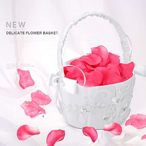 Amazon.com: Canasta de flores romántica para niña de AUNMAS ...