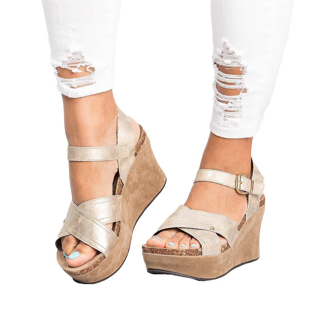 Minetom Sandali Donna Moda Fibbia Casual Scarpe Zeppa Piattaforma Eleganti Estivi Sandals Romani Retro PU Shoes B Oro