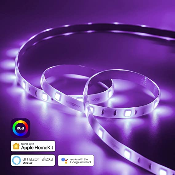 Koogeek Led Light Strip, Usb Smart Light Strip Waterproof 16 Million Color Changing Smd 5050 2m Compatible With Alexa And Google Assistant, Apple Home Kit, Alexa Echo, Android, On 2.4 Ghz by Koogeek