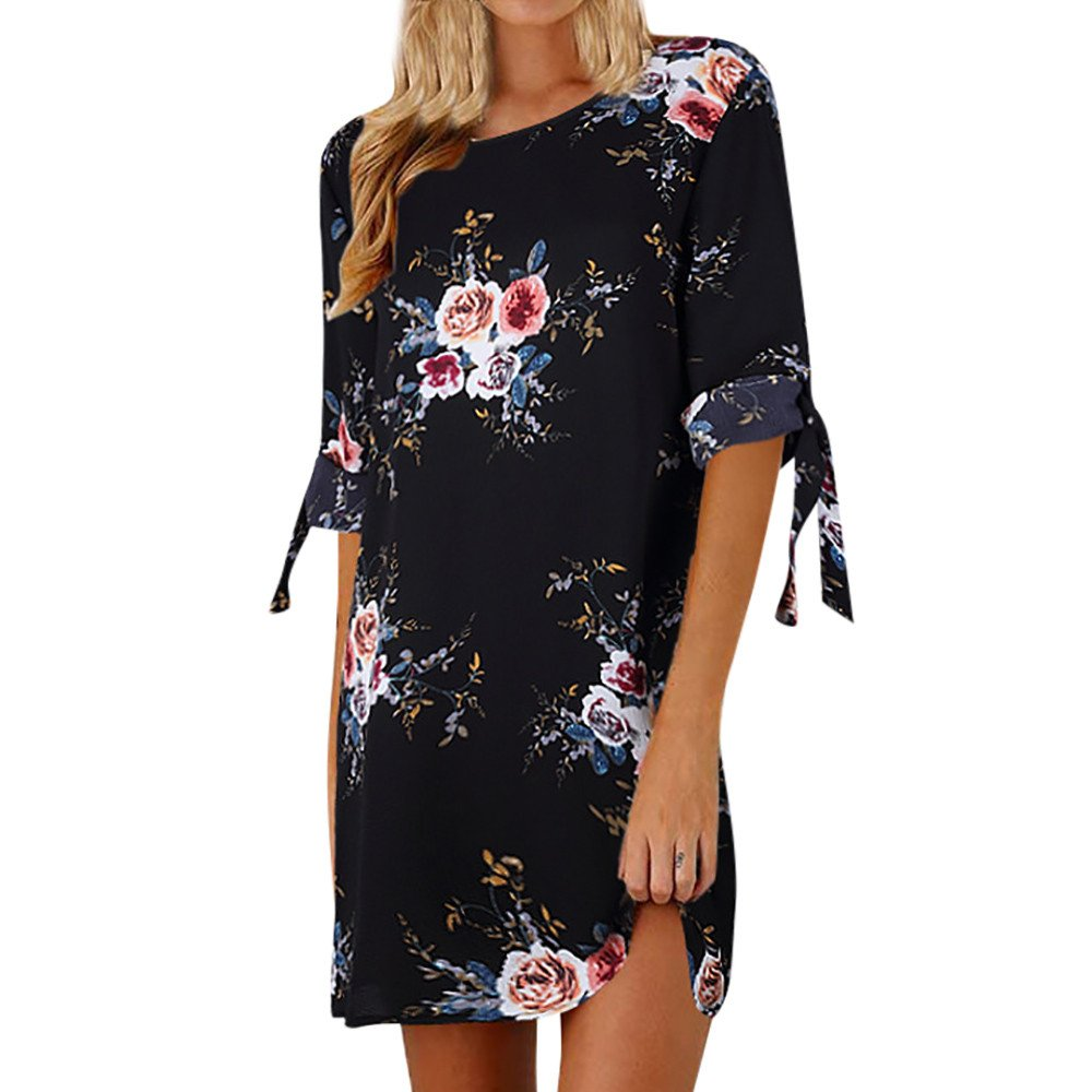 Women's Boho Floral Print Bowknot Half Sleeve Mini Dress Casual O-Neck Cocktail Party Shirt Dresses Beach Sundress Black