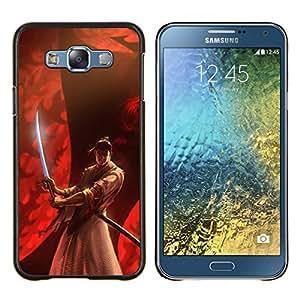 EJOOY---Cubierta de la caja de protección para la piel dura ** Samsung Galaxy E7 E700 ** --rojo samurai japonés fuego héroe guerrero