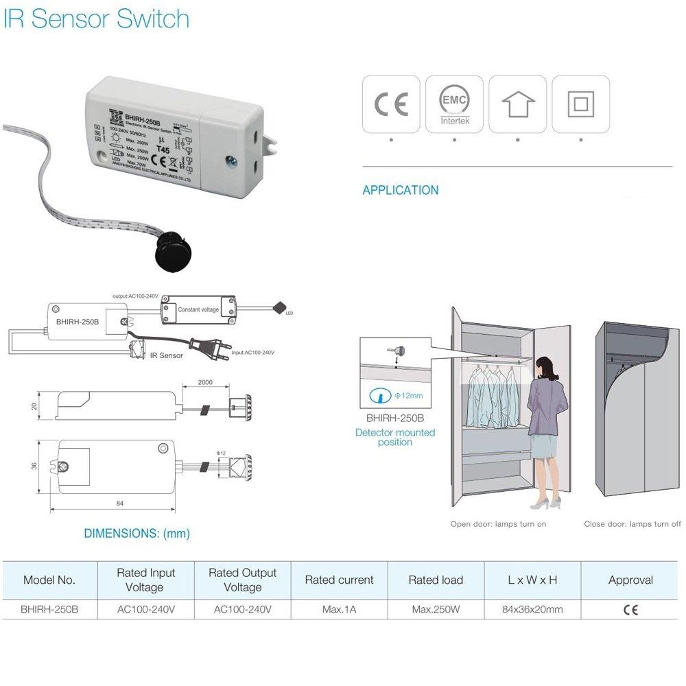 Última bhirh de 250b patentada 250 W IR Sensor de Interruptor doble voltaje 110 - 240 V inteligente Luz Lámpara Enmienda de la fernerkundung Cambiar IP20 ...