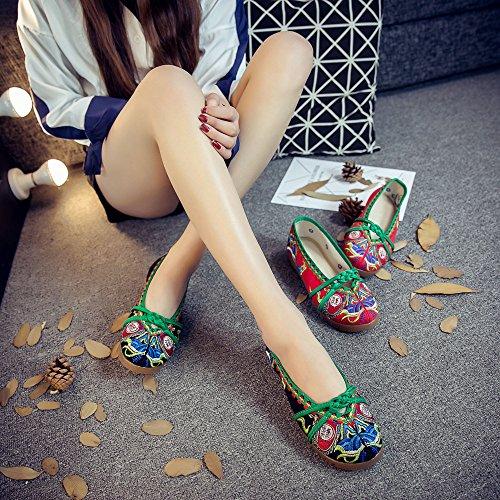 GuiXinWeiHeng Zapatos estilo casual tend¨®n ¨¦tnico bordados xiuhuaxie black moda de lenguado c¨®modo tela zapatos de femenina 4rw4q