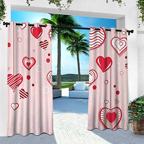 (Love, Exterior/Outside Curtains,Contour Hearts Hanging on Strings Romantic Anniversary Valentine`s Day Happy Print, W120 x L84 Inch, Rose Red Pink)