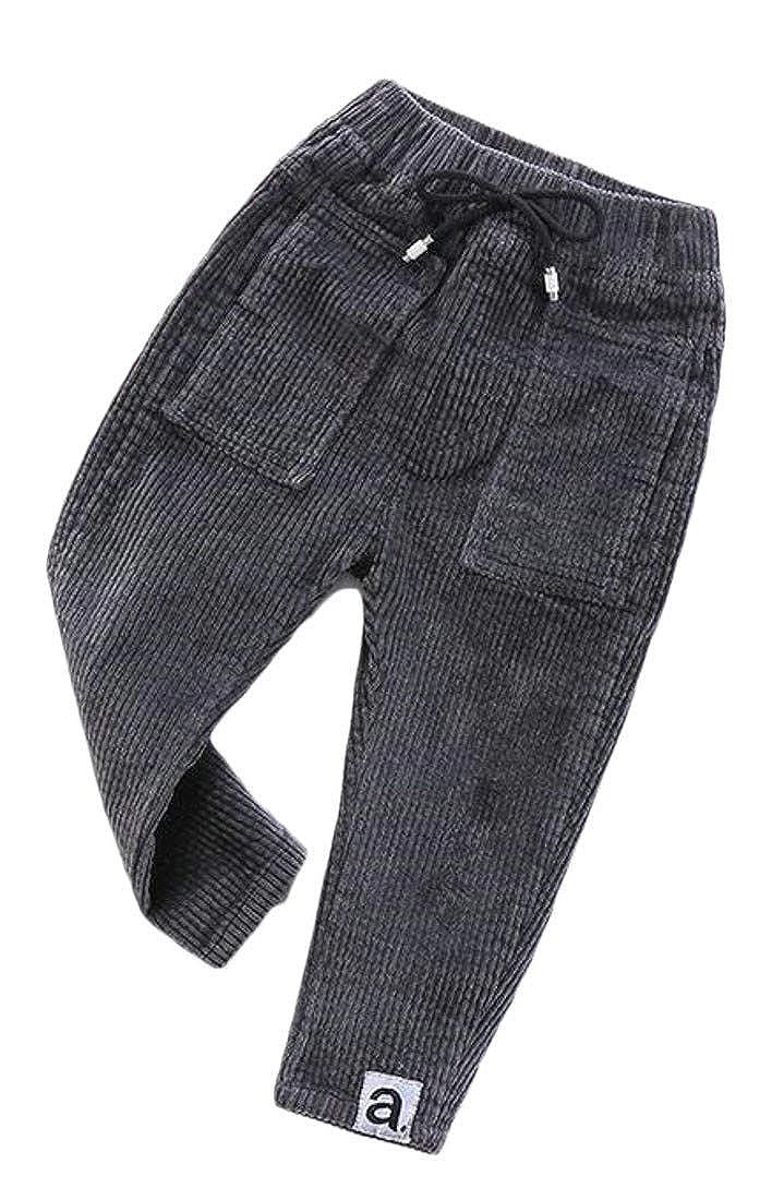 Cromoncent Boy Autumn Elastic Waist Corduroy Cotton Open Bottom Long Pants