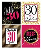30th Birthday Wine Labels - Set of 4 pink, gold and