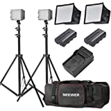 Neewer 2x160 LED Dimmable Ultra High Power Panel Lighting Kit for Digital Camera Camcorder Includes: (2)CN-160 Light, (2)5.9x6.7 inches Softbox, (2)Battery Replacement, (2)6 feet Light Stand, (1)Bag