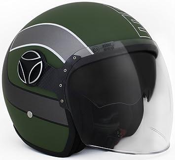 Momo 10140000017 Casco Moto, Arrow Milt Grn Matt SIL, XL