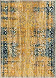 """Alhambra Modern Vintage Bright Floral Traditional Medallion Yellow Gold Blue 8×10 (7'10"""" x 9'10"""") Area Rug Review"""