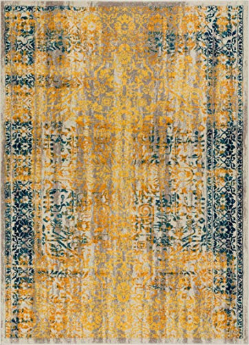 Alhambra Modern Vintage Bright Floral Traditional Medallion Yellow Gold Blue 4x6 (3'11