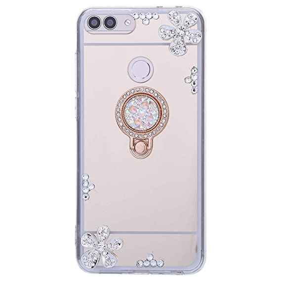Coque Huawei P Smart,Etui Huawei P Smart Miroir Luxe Crystal Brillant Pailletees Diamant Strass Fleur et Ring Stand Holder Souple TPU Silicone Coquille Coque Ultra Mince Case Bumper,Or