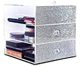 JiBen Clear Acrylic 3 Tiers Makeup and Jewelry Organizer - Silver