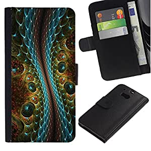 """HTC One M8 , la tarjeta de Crédito Slots PU Funda de cuero Monedero caso cubierta de piel ("""" Magic Art Reptile Crocodile Alien Design"""")"""