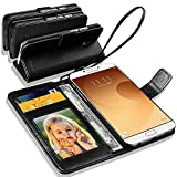 Samsung Galaxy A9 (2016) / Samsung Galaxy A9 Pro Rich Leather Stand Wallet Flip Case Cover Book Pouch / Quality Slip Pouch / Soft Phone Bag (Specially Manufactured - Premium Quality) Antique Leather Case Black