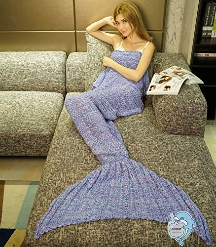 LAGHCAT Mermaid Tail Blanket Crochet Mermaid Blanket for Adult, Soft All Seasons Sleeping Blankets, Whale Tail Pattern (71″x35.5″, Purple)
