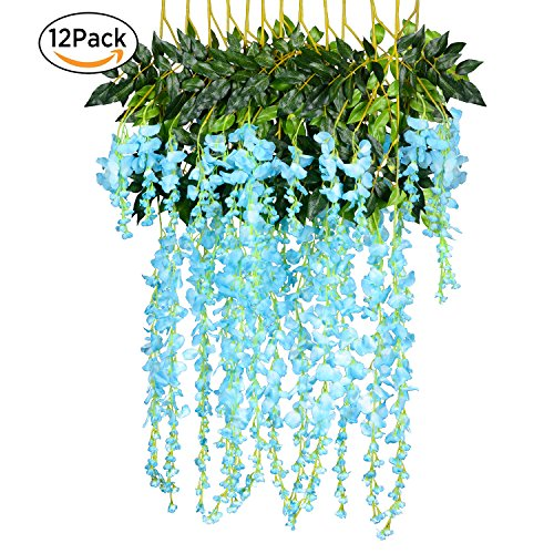 12 Pack 3.6 Feet/Piece Artificial Fake Wisteria Vine Ratta Hanging Garland Silk Flowers String Home Party Wedding Decor