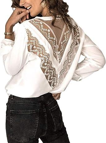 Minetom Mujer Camisa Elegante Manga Larga Blusa Chic Escotado por Detrás Color Sólido Encaje Floral Slim Fit Shirts Tops: Amazon.es: Ropa y accesorios