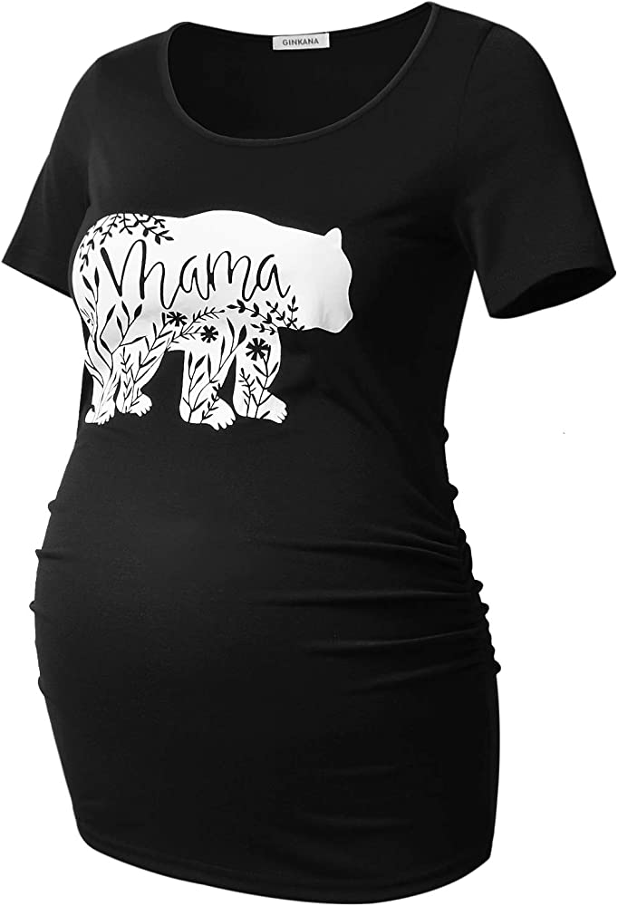 af989613c97 GINKANA Maternity Shirts Mama Bear Funny Pregnancy Tshirt Novelty Gift Wild  Animal Family Tee