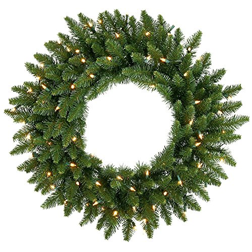 Christmas Fir Camdon Tree (Vickerman 24-Inch Prelit Camdon Fir Wreath with 130 Tips and 50 clear Dura-Lit Indoor/Outdoor Lights, Green)