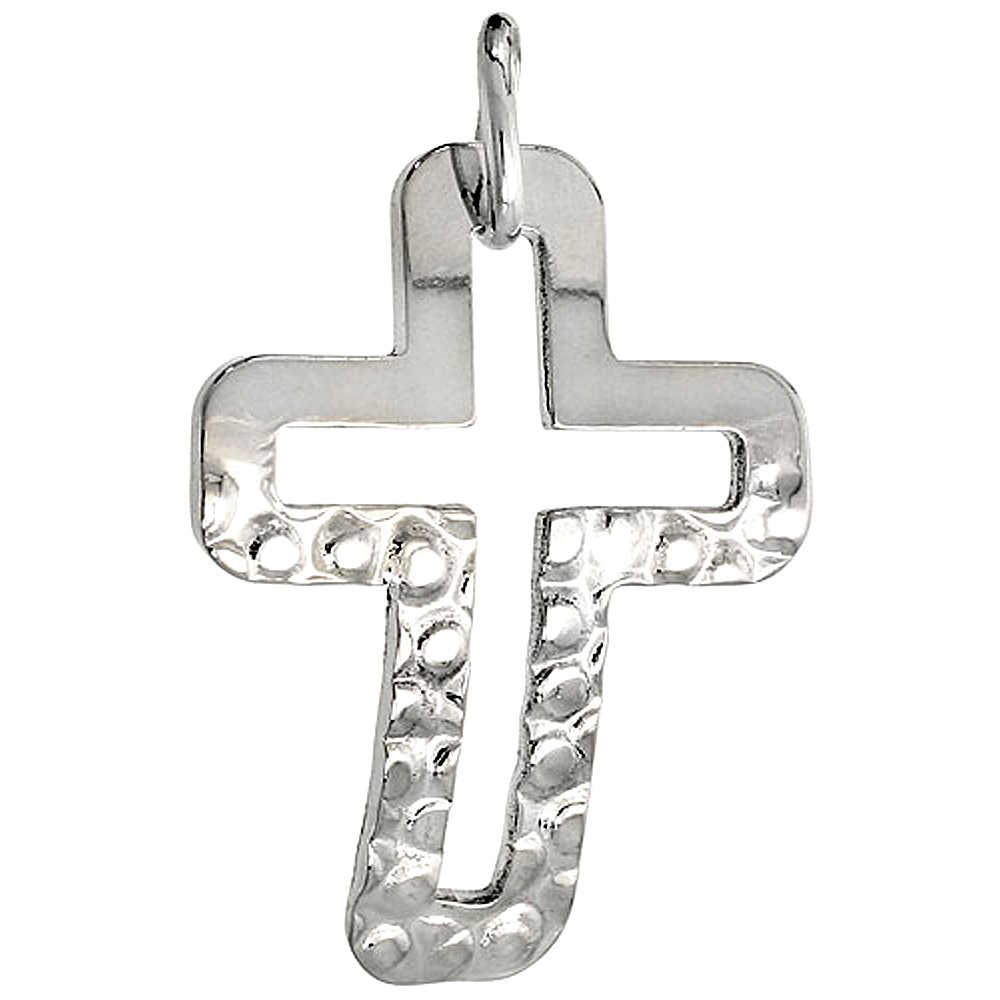 1 1//16 inch Sterling Silver Cross Necklace with 24 inch Surgical Steel Chain Italy