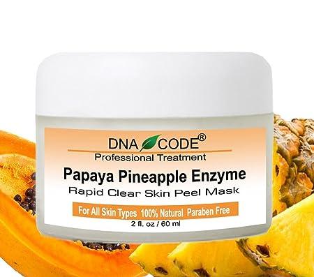 DNA Code-20 Papaya Pineapple Glycolic Enzyme Clear Skin Mask Peel w Argireline, Hyluronic Acid, Glycolic Acid, Vit. C, E, CoQ10