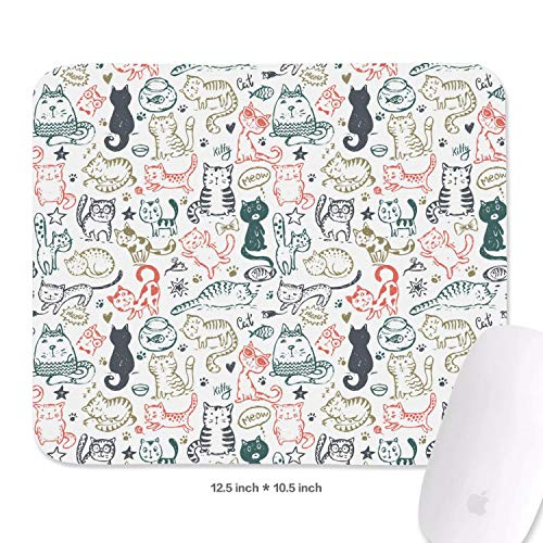 Family Game Office Mouse Pad Funny Cat and Mice Fish Star Heart Personality Comfortable Non-Slip Rubber Rectangular Mouse Pad