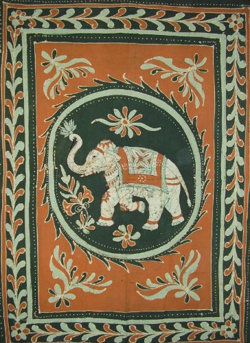 Lucky Batik Elephant Tapestry Cotton Bedspread 108