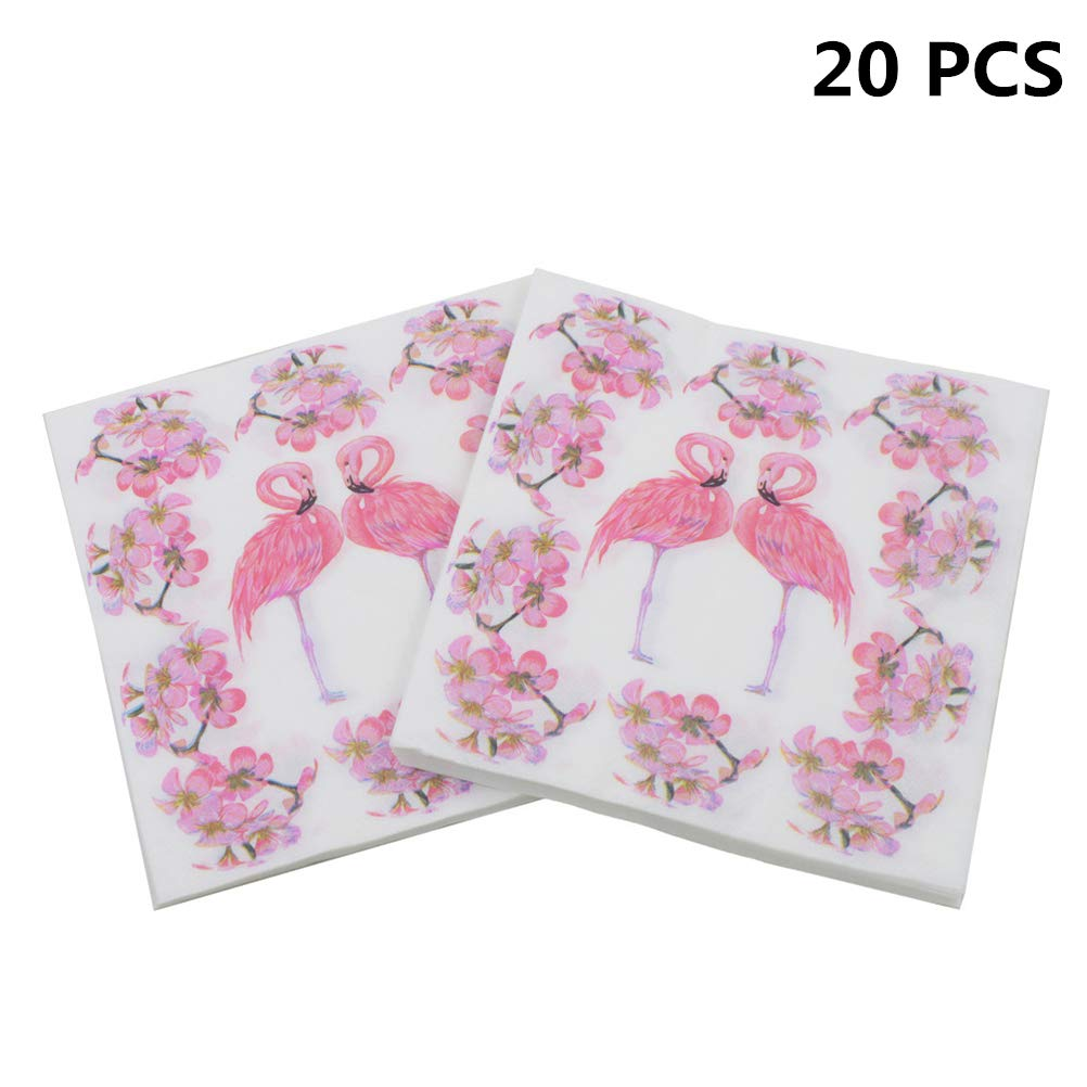 Poluka 20Pcs/Pack Flamingo Paper Napkins Party Napkins Beauty Flowers Napkins Cafe Tissue Napkins Decoupage Decoration Flamingo Party Tableware Napkin Girls Flamingo Party Supplies Discussz
