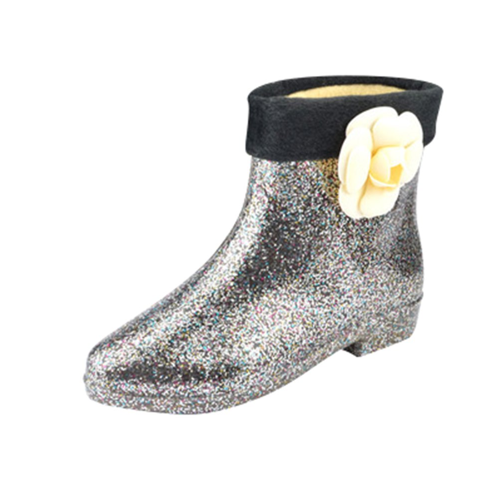 Xinwcang Donna Stivali da Pioggia da Moda, Scarpe da Moda Impermeabile Stivaletti Antiscivolo Rain Boot Nero3