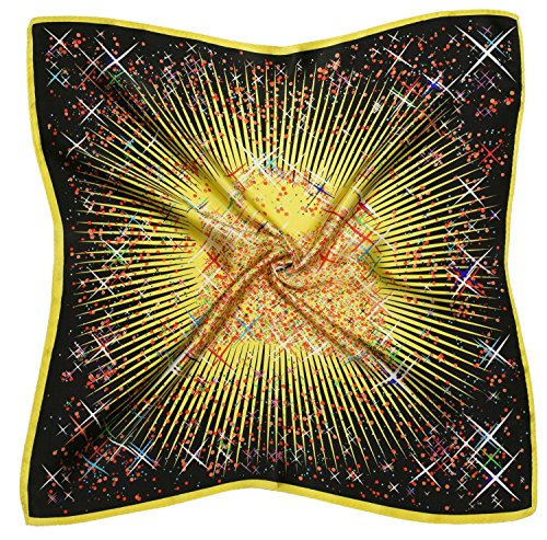 Yellow Black Abstract Thick Silk Small Square Scarf